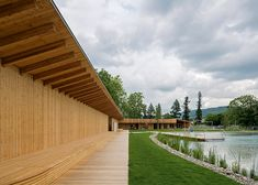 Herzog & de Meuron creates natural swimming pool in Switzerland Timber Architecture, Contemporary Architecture, Architecture Details, Interior Design Images, Interior Design Boards, Swimming Pool Architecture, Natural Swimming Pools, Camping Places, Urban Landscape