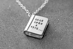 """Love a good story? This charming """"Once Upon A Time"""" Silver Story Book Necklace tells a lovely tale around your neck. - Silver plated engraved story book pendant necklace - """"Once upon a time"""" on the fr Cute Jewelry, Jewelry Box, Jewelery, Silver Jewelry, Jewelry Accessories, Jewelry Necklaces, Silver Ring, Gold Jewellery, Silver Earrings"""