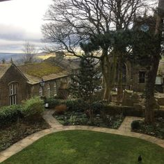 This is the view from Charlotte Brontë's bedroom (now the Brontë Parsonage Museum), Haworth, Yorkshire. Charlotte was an English novelist and poet, the eldest of the three Brontë sisters whose novels became classics of English literature.