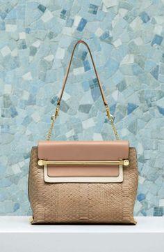 """""""Clare"""" shoulder bag in python and smooth calfskin 3S0346-911-03V SAND DUNE"""