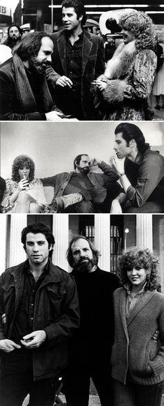 "John Travolta as ""Jack Terry,"" Nancy Allen as ""Sally,"" and director Brian De Palma on the set of Blow Out (1981)"