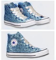 f05031dd3601 Women s Sparkly Glitter Converse All Stars High Top - Light Blue