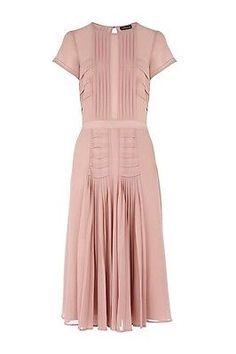 Warehouse pink pleated dress size 14 in Clothes, Shoes & Accessories, Women's Clothing, Dresses | eBay