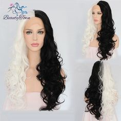 Half Black Half White Color Natural Hair Hand Tied Synthetic Lace Front Wig Gift #Unbranded #lacefrontwig