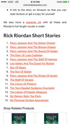 U should read all his short storied there all really good. Go Rick Riordan