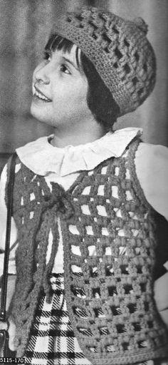 1970 Childrens Crochet pattern crochet Hat by CrochetPatternRewind, $2.50