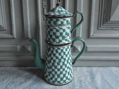 French enamel cafetiere Biggin coffee pot by MyVintageFrenchHouse