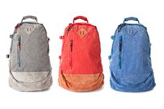 visvim 2012 Spring/Summer LAMINA CORDUROY 20L:   Certainly famous for their extremely detailed and functional luggage line, visvim reprises the ever-popular 20L daypack with a return of the LAMINA CORDUROY. This time around the colors are a tad brighter to suit the sunny summer days ahead, with a new use of hand-dyed suede for the accent patches and bottom shelf. The corduroy used proves to be a rugged-yet-soft material to withstand urban lifestyles