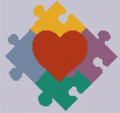 Mother Bee Designs: FREE Autism Heart 2 Cross Stitch Pattern