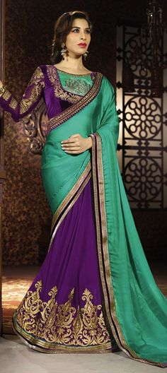 175566, Bollywood sarees, Georgette, Satin, Faux Chiffon, $93Lace, Machine Embroidery, Green, Purple and Violet Color Family