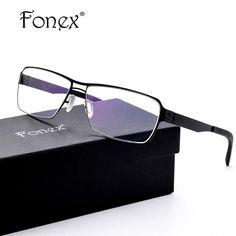 2a962a8216 FONEX No Screw Germany Design ic Optical Oliver Thin Elastic Glasses Frame  Men Myopia Prescription Ber