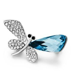 Pugster Dragonfly Clear White And Aquamarine Blue Swarovski Crystal Diamond Accent Rhinestone Brooches Pins Pugster. $24.39. Exquisitely detailed designer style with Swarovski cystal element.. Money-back Satisfaction Guarantee.. One free elegant cushioned Gift box available with every order from Pugster.. Can be pinned on your gown or fastened in your hair with bobby pins.. Occasion: casual wear,anniversary, bridal, cocktail party, wedding. Save 20%!