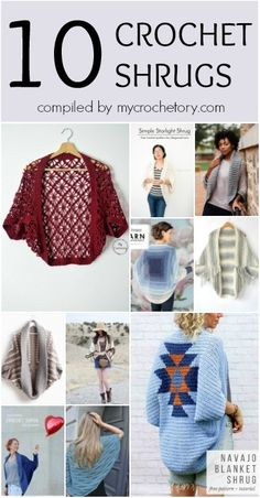 Top 10 CROCHET SHRUGS compiled by A round up of the best 10 crochet shrugs, blanket sweaters. Make yourself or a friend a beautiful new accessory and have fun doing it! Crochet Shrug Pattern Free, One Skein Crochet, Tunisian Crochet Stitches, Crochet Cable, Crochet Shawl, Crochet Shrugs, Free Crochet, Crochet Patterns, Crochet Sweaters