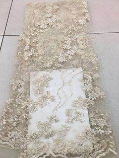 champagne embroidered lace fabric bridal lace fabric with