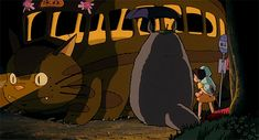 Catbus shining his light on them. -- Studio Ghibli movies, Japanese films, My Neighbor Totoro, moments, scenes, gif, characters