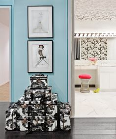 Creative Director Deborah Lloyd's office at the Kate Spade and Jack Spade HQ… Cool Office Space, Office Workspace, Office Decor, Aqua Rooms, Jewellery Showroom, Jack Spade, Lounge Areas, Office Interiors, Painted Furniture