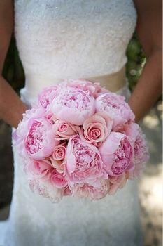 Flowers, Pink, Bouquet, Green, Wedding, Garden, Wedding dress