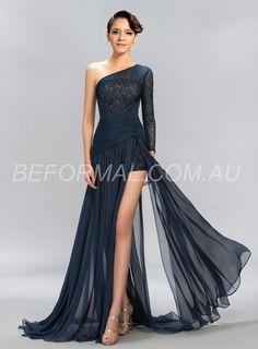 Beformal.com.au SUPPLIES Sexy One Shoulder 3/4-Length Sleeve Lace Split Front Long Formal Dress  Long Formal Dresses