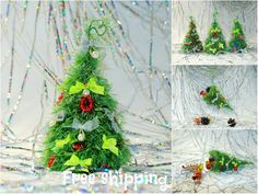 Christmas ornaments Hand Knitted Christmas decoration Eco friendly Table centerpiece Fireplace mantel New year. Office, Home, Cubicle Decor. by HomemadeCraftIdeas on Etsy