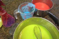 "Neon ""water"" balloon fight  INGREDIENTS 2 cups cold water 3/4 cup corn starch 10 drops food coloring (I used neon) DIRECTIONS  In a saucepan, combine ingredients  Heat over medium heat, stirring constantly, ONLY until you feel it thickening. It should take less than 2 minutes. Remove from heat immediately. Continue to stir and add water till desired thickness. It was easy to fill the water balloons directly from the spray bottle.  http://tinkerlab.com/salt-and-flour-paint/"