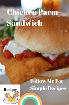 A deliciously fried chicken parmesan sandwich with a delightful tomato sauce and mozzarella cheese. Fried Chicken Parmesan, Chicken Parmesan Sandwich, Chicken Fried Steak, Bacon Wrapped Filet, Best Sandwich Recipes, Filet Mignon Steak, Homemade Coleslaw, Fun Buns, Pizza
