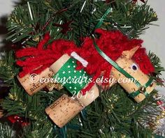 Christmas cork  horse ornament bottle tag variety by Corkycrafts, $4.00