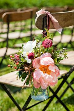 flowers outdoor ceremony, wedding ideas, wedding flowers, aisle flowers, wedding chairs, mason jars, wedding details, summer weddings, chair decorations