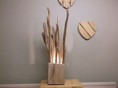 UNUSUAL DRIFTWOOD FLOOR LAMP TABLE LAMP BLOCK AND BRANCHES HAND CRAFTED