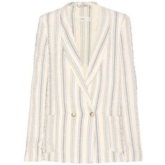 Closed Striped Cotton Blazer ($135) ❤ liked on Polyvore featuring outerwear, jackets, blazers, white, stripe jacket, striped blazer, white cotton jacket, white striped blazer and white blazer