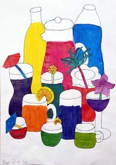 Übung in einer 5. Klasse:  Aus den drei Primärfarben in den großen Flaschen werden Cocktails in den kleinen Gläsern gemischt. Alle Mischmöglichkeiten, die auf Ittens Farbkreis zu sehen sind, sollen ausgeführt werden.