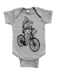 Baby One Piece - Unique Baby Gift - Baby Boy Bodysuit - Baby Girl Bodysuit - Baby Jumper - Fish on a Bike - Unisex Infant Clothes - Creeper Unique Baby Gifts, Baby Boy Gifts, Baby Jumper, Creeper, Baby Bodysuit, Onesies, Infant, One Piece, Bike
