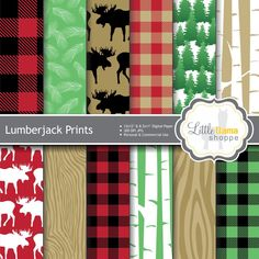 Lumberjack Patterns Digital Paper, Buffalo Plaid, Red and Black Plaid Print, Forest Scrapbook Paper, Commercial Use by LittleLlamaShoppe on Etsy https://www.etsy.com/listing/213129596/lumberjack-patterns-digital-paper