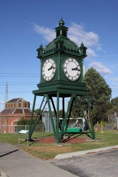 The 'Water Tower Clock' that once lived at Flinders Street Railway Station in Melbourne, Australia. It actually was not a water tower – the clock (built in 1883) was on top of an 18 m tower where a water tower had originally been. The clock has been moved several times since 1902, including here on display at the Scienceworks Museum at Spotswood. In 2014 it was moved back to Southern Cross Station.