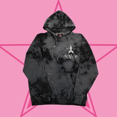 This UNISEX 'Tie-Dye Onyx Ice Hoodie' is a custom garment and tie-dyed so no two items are identical. The Jeffree Star Cosmetics logo is emblazoned on the left
