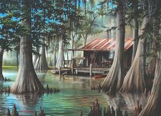"""The Swamp"" by Ron Attwood  Ron was so nice to meet at the Revel last year. He personalized this print for us."