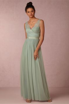Mint Green Bridesmaid Dresses Long Formal African Lace Wedding Guest Dress  Floor Length V Neck Sash Tulle Greek Style