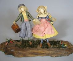 Vintage Jack and Jill Storybook Dolls Corn Husk