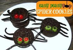 { Do you eat cookie dough while baking? I do. To avoid that I made these! }Easiest ever no bake spider cookies for Halloween. Make them at a Halloween party .