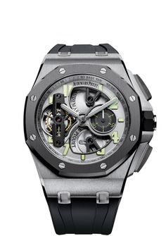 AUDEMARS PIGUET ROYAL OAK OFFSHORE   TOURBILLON CHRONOGRAPH  This limited edition watch is a collector's piece. But not for the sort of collector who keeps his watches behind glass. This watch has been designed for challenges and fresh horizons. It is destined for the wrist of a man who accepts no limits but those he sets for himself.