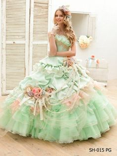 Mint and baby pink vintage inspired floral ball gown~ for a southern belle who wants to be a spectacle
