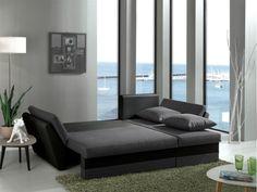 Γωνιακός καναπές κρεβάτι με αποθηκευτικό χώρο 260X145εκ. NOA Γκρί ύφασμα/Μαύρο PU