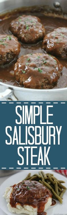 Simple Salisbury Steak – perfect weeknight recipe idea to serve the family. Add … Simple Salisbury Steak – perfect weeknight recipe idea to serve the family. Add in some mashed potatoes and your favorite veggies for the ultimate comfort food Beef Dishes, Food Dishes, Main Dishes, Dishes Recipes, Easy Dinner Recipes, Easy Meals, Kids Meals, Supper Recipes, Good Food