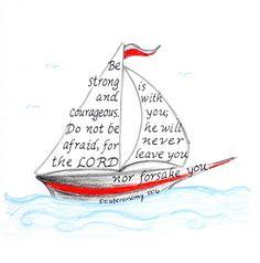 nautical drawing inspirational bible verse print by LindaRobbsArt, $10.00