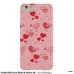 Pretty Pink Love Birds & Hearts Whimsical Pattern Barely There iPhone 6 Plus Case