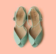Cute mint green bridal shoes | http://emmalinebride.com/bride/handmade-wedding-shoes/ Mocassin, Leather Flats, Handmade Leather Shoes, Leather Bag, Mint Sandals, Mid Heel Sandals, Mid Heel Shoes, Shoes Sandals, Mint Green Shoes