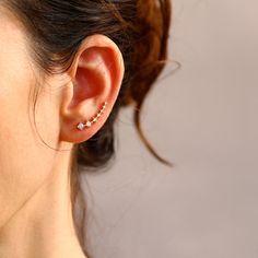 Gold Ear cuff with Cubic Zirconia Gemstone , Ear Climber , Gold Ear pin , Delicate earrings , Wedding earrings , Bride earings