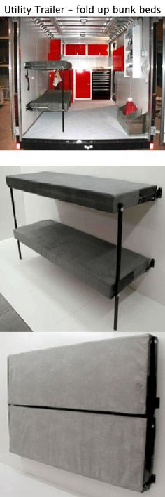 """Folding Bunk Beds..easily fold down and up out-of-the-way. Store on the wall secured with two simple straps when not in use. Completely assembled, ready to install. Great for RVs & trailers. Fits beside cars, motorcycles or snowmobiles. Black powder coated steel frames. Extremely durable, weather resistant fabrics available in Apollo Gray or Apollo Black. 77"""" x 26"""" x 5"""" Sleeping Surface, 80"""" x 53"""" x 5"""" Folded-up. 75 lbs - $750"""