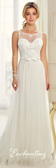 Enchanting by Mon Cheri Fall 2017 Collection - Style 217103 - sleeveless tulle A-line wedding dress with hand-beaded illusion bateau neckline and deep scoop back