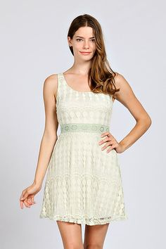 LACE OVERLAY FIT AND FLARE DRESS-Mint