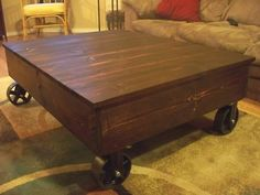 Military Trunk coffee table with caster wheels industrial